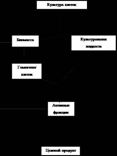 Рисунок 1. Общая схема выделения БАС на заключительной стадии биотехнологического производства.