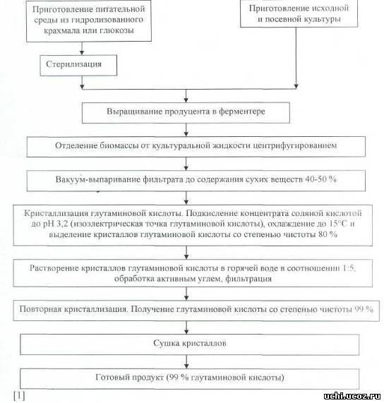 Схема получения глутаминовой кислоты при использовании в качестве источников углерода глюкозы или гидролизата...